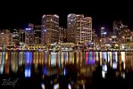 Sydney Harbour at night by Elesif
