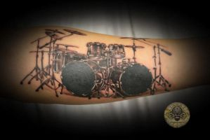 2 music drums tat by 2Face-Tattoo
