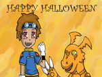 Halloween- Takato and Guilmon by curlyswirl