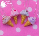 Sweet heart ice-cream Necklace By Moon Bunny by CuteMoonbunny