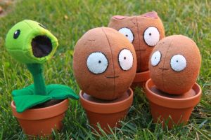 Plants vs Zombies Plushies by arixystix