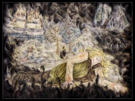 Finrod fell before the throne by Hemhet