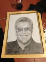 Elton John Drawing + Autograph by Polonx