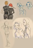 Black Widow/Hawkeye Sketchdump by lehanilee