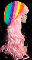 Rainbow Slouchy Beret by rainbowdreamfactory