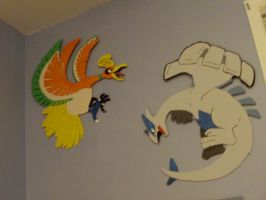 Painted Ho-oh And Lugia by thegamemaster27