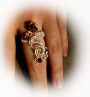 Rose Ring - Wire Wrapped Silver Bronze Gold by LadyPirotessa