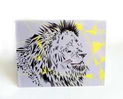 Geometric Lion Blank Card by wflead
