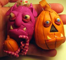 some Halloween ornaments by mealymonsterland