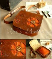 Large Steampunk Leather Messenger Bag IV by izasartshop