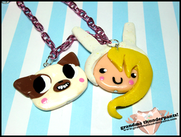 Fionna and Cake Necklace by GrandmaThunderpants