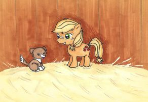 Lil' Applejack and Winona by ChiuuChiuu