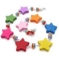 Wooden Rainbow Star Necklace by fairy-cakes