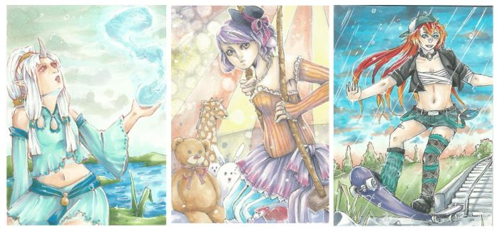 ACEO: OC's by IvoryPeony
