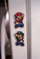 Mario + Luigi magnet X-Stitch by Shellfx