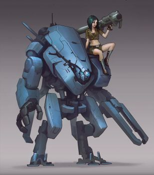 Mech and chick by Callergi