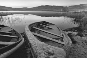 Frozen Boats on Loch Ard by BusterBrownBB
