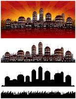 Sunset City Vector Background - Skyline by mfcoelho