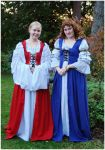Lady In Red, Lady In Blue by Eirian-stock