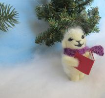 needle felted lamb ornament by Elvenartistsforest