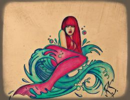 Mermaid tattoo design commission by XxParanoidAndroidxX