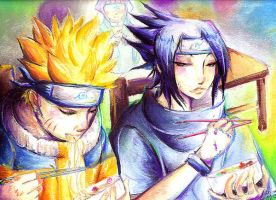 Naruto x Sasuke - Eating Ramen by Schizzy