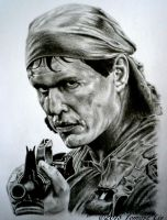 Sgt. Barnes Tom Berenger in Platoon pencil drawing by TAFOXART