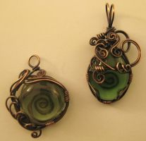 Green pendants by iamnotwendy