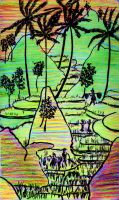 Rice Terraces Doodle by Onyana