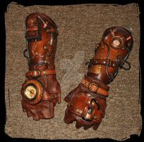 leather bracers Steampunk by Lagueuse