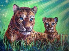 Amur leopards by LatifuLioness