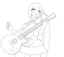 Girl with guitar: Lineart by ganoderma