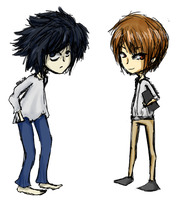 DeathNote Doodles - L and Light by abbic314