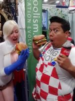 Power Girl and Big Boy caught eating by creativesnatcher69
