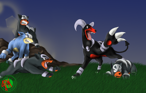 Houndoom joking with some houndours. by DemonNagareboshi