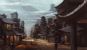 Concept Art: Asian Fantasy Citiscape by ESPj-o