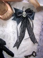 Grey satin hairpin with cameo by RagDolliesMadhouse