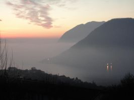 View of the lake with fog by Simbores