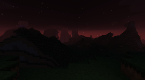 the red sky and mountains by derickramzess