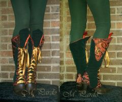 Green velvet and red brocade spats by arcticorset
