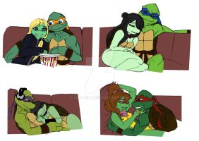 Lounging lovers TMNT by Lily-pily