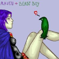 Raven and Beast Boy oekaki by hemachandra