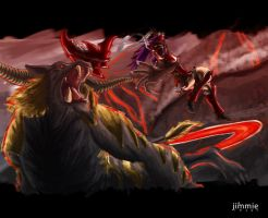 Aerion vs Rajang by Spoonboy