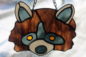 Stained Glass Raccoon by lenslady
