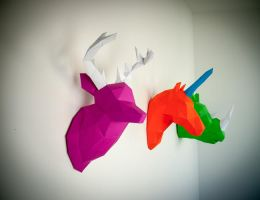 Papertrophy Elk, Rhino and Unicorn by Papertrophy
