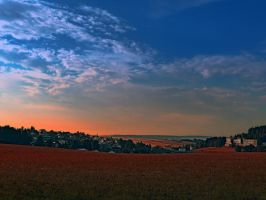 Small rural town skyline at sunrise II by patrickjobst