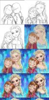 Frozen Elsa and Anna fan art Tutorials by Angju
