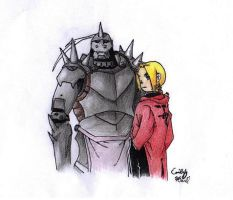 Fullmetal Alchemist Ed and Al by OEmilyThePenguinO