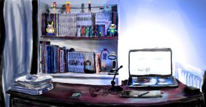 my desktop and bedroom by VitorViana
