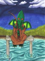 Cthulhu Chibi Fishing Color by AlannaHarpsong